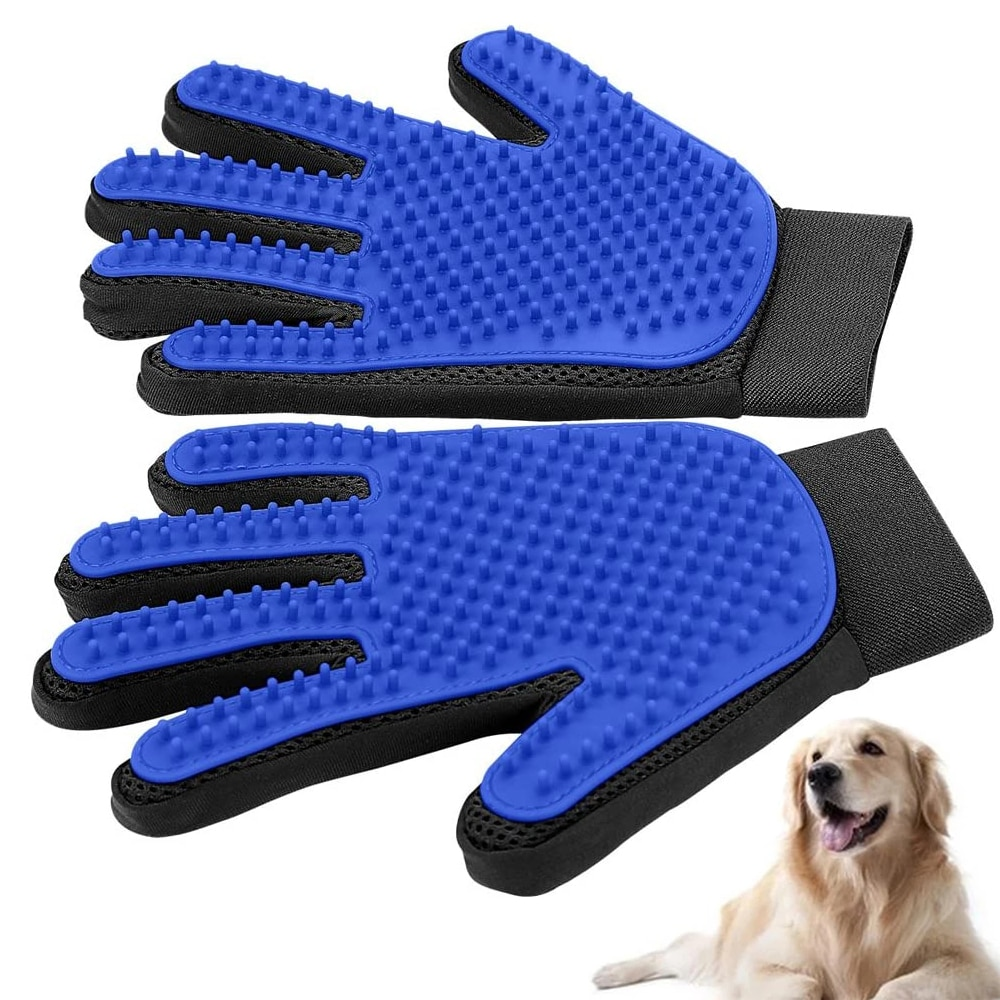 Rubber Pet Dogs Cats Grooming Gloves Mitten Deshedding Cleaning Animal Hair Remover Brush Scratcher