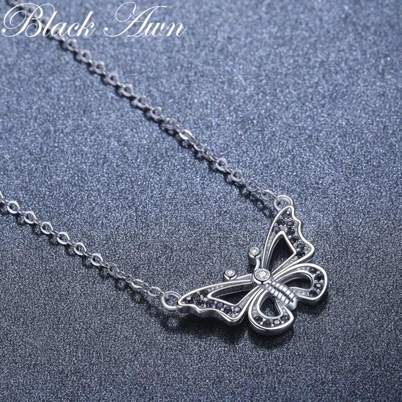 2021 New Black Awn Silver Necklace Genuine 100% 925 Sterling Silver Necklace Women Jewelry Butterfly Pendants P200