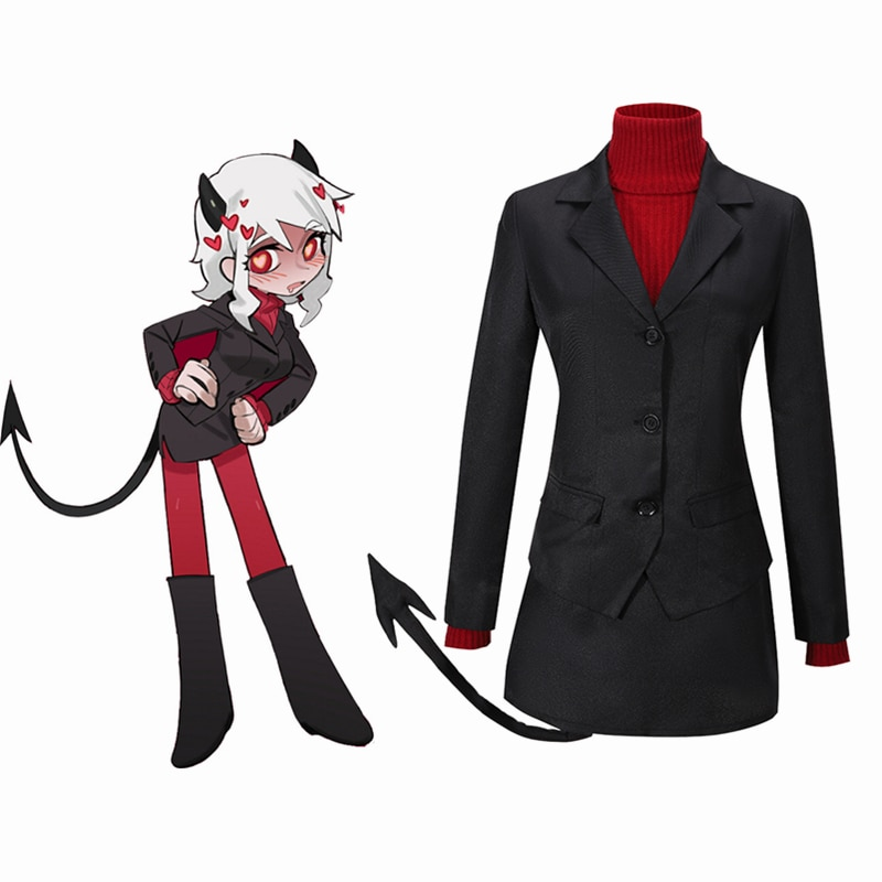 Fantasia cosplay helltaker the lustful demon modeus, traje de menina, adulto, meias de cauda, halloween, carnaval