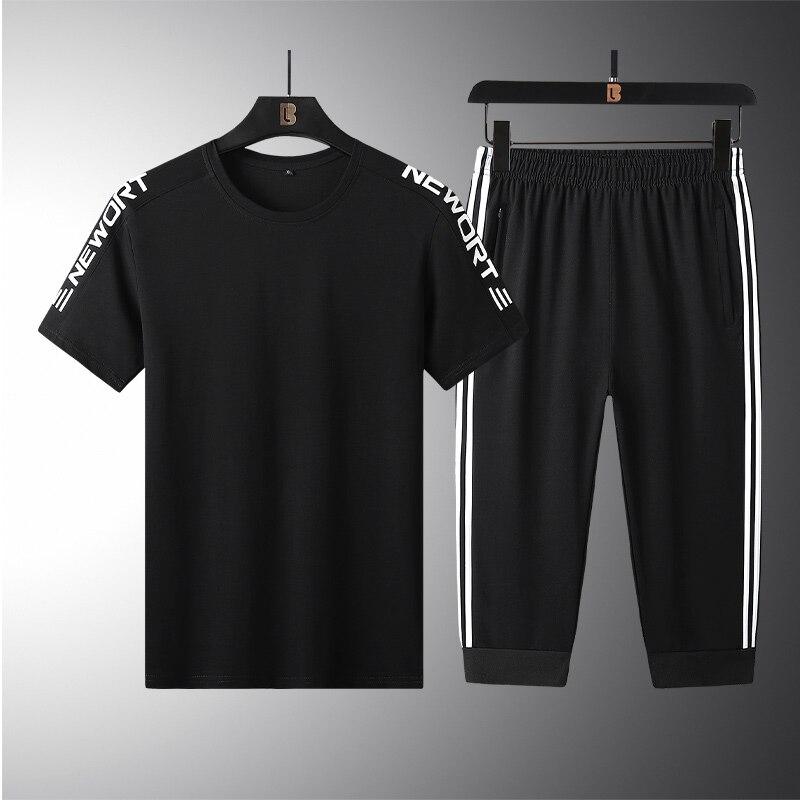 الرجال عارضة رياضية الرجال 2 قطعة مجموعة الرجال 2021 الربيع تيشيرت صيفي الرياضية البلوز الركض Sweatpants السراويل للرجال