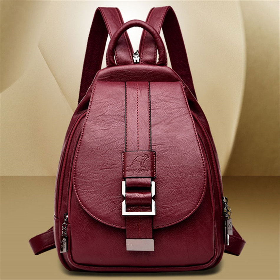 3 in1 Women Leather Backpacks Female Shoulder Bag Sac a Dos Travel Back Pack Ladies Bagpack Mochilas School Bags Preppy Style