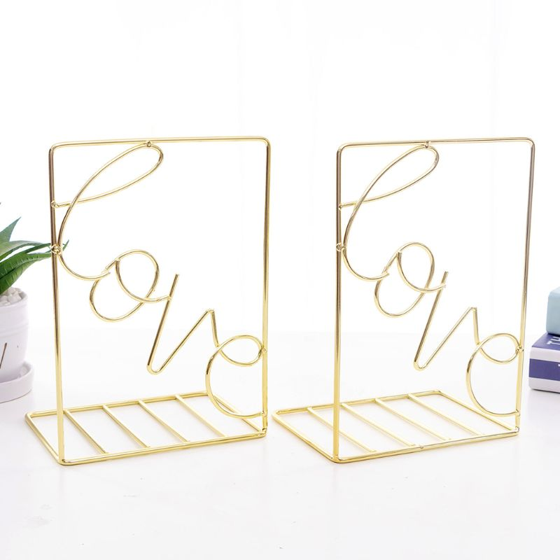 1 Pair Creative Love Shaped Metal Bookends Desk Book Storage Holder Shelf Book Organizer Stand for Office Student