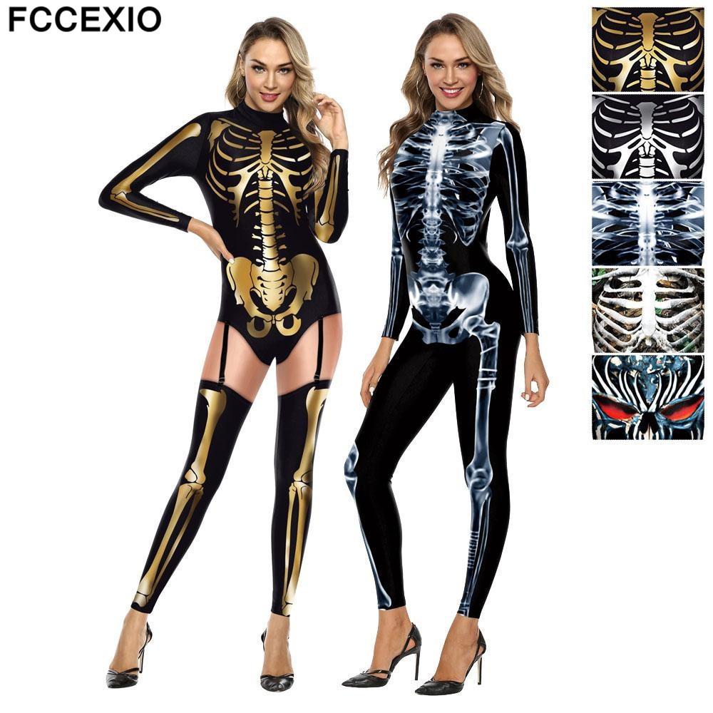 FCCEXIO Пурим карнавальные костюмы для косплея модное боди с принтом Черепа скелета смешной женский костюм сексуальный женский комбинезон