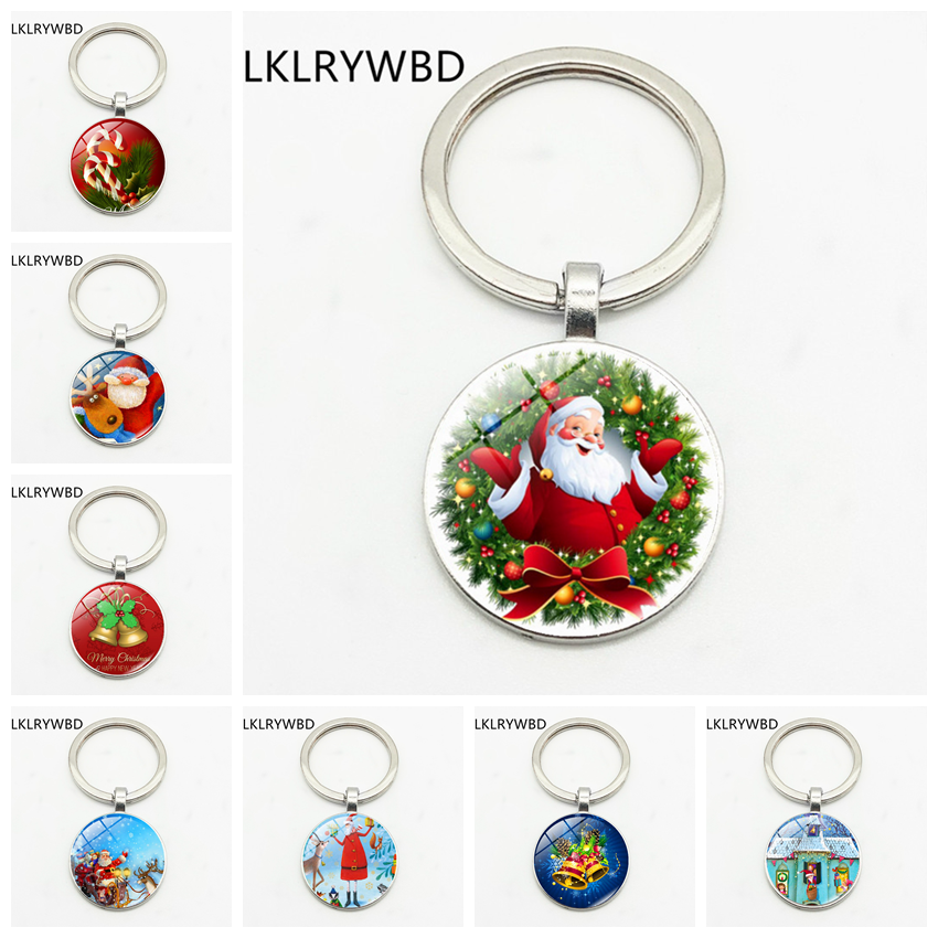 Cartoon creative Christmas Santa series key chain jewelry pendant convex glass key ring gift
