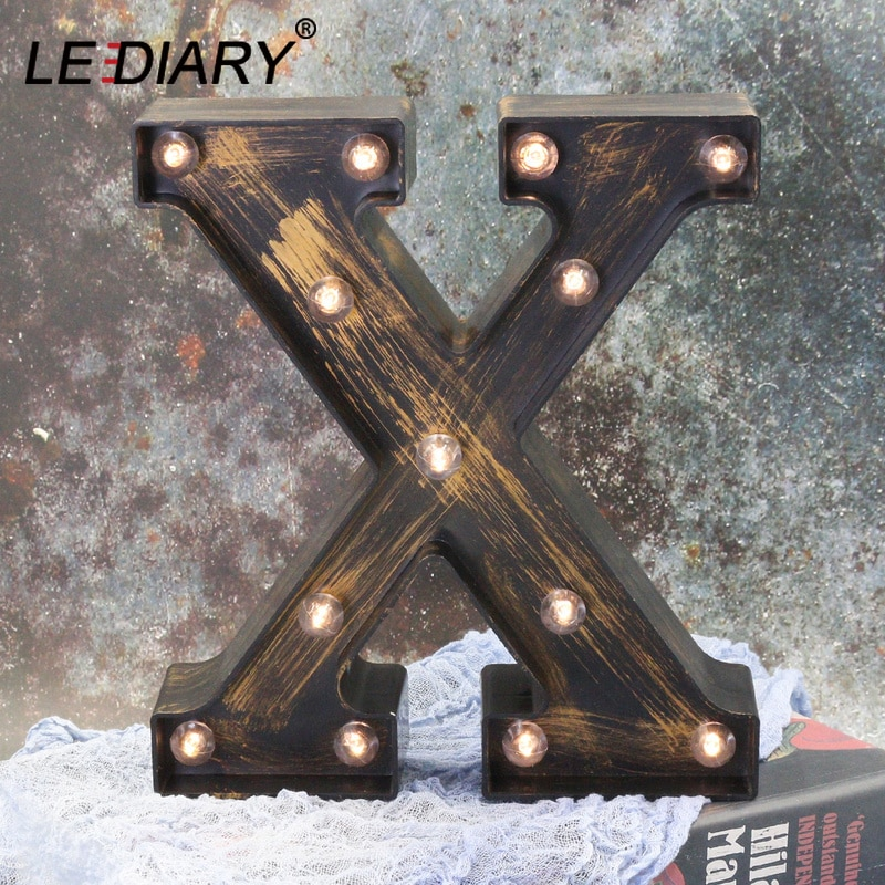 LEDIARY 26 Letter LED Night Lights Industrial Style Holiday Decor Wall Lamps Home Bedroom Lighting 3D Alphabet Cafe Bar Lamp
