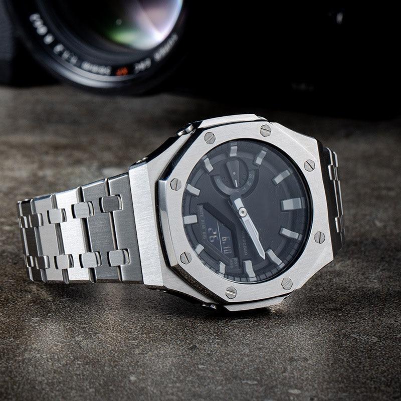 GA2100 جميع المعادن الحافة حزام ساعة اليد حالة 2rd الجيل تعديل ل GA-2100/GA-2110 استبدال الملحقات
