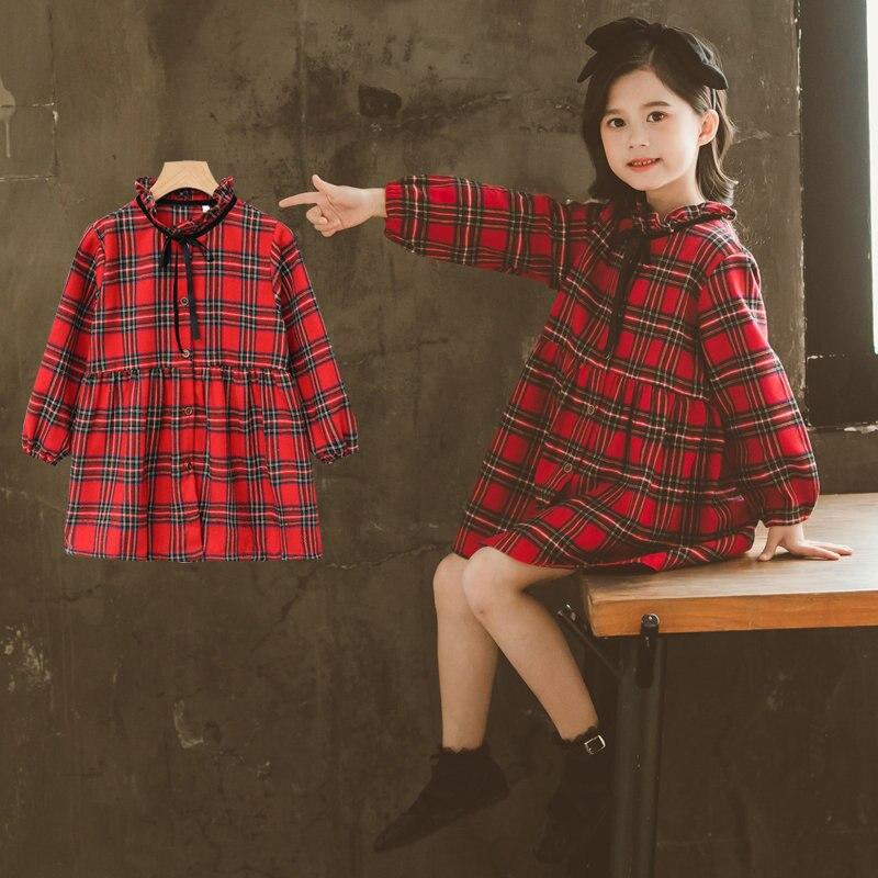 2020 vestido de camisa a cuadros de manga larga Casual para chicas elegantes con pajarita vestidos de blusa para adolescentes de moda 4 5 6 7 8 9 10 11 12 13 años