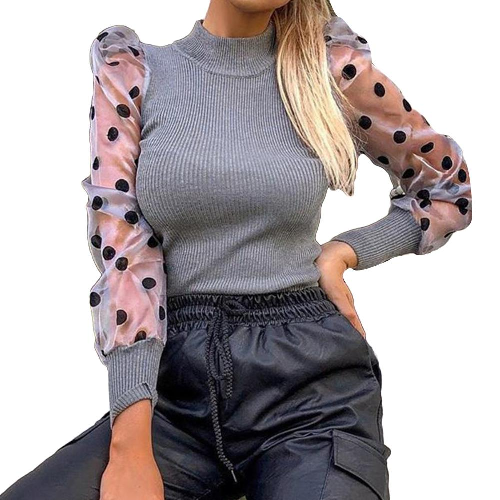 Mujer otoño Polka Dot malla larga Puff manga acanalada suéter camisa de fondo adecuado para el trabajo escuela shopping lounge wear