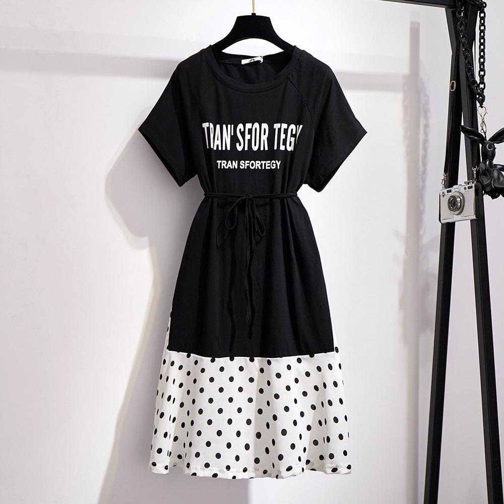 Summer 5XL 6XL Large Size Polka Dot Dress Women Casual Loose Letter Print T-Shirt Dress Female Plus Size Black Patchwork Dresses
