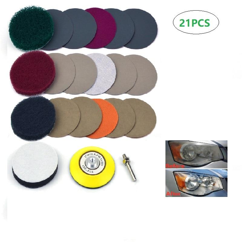 Набор для полировки и ремонта автомобильных фар, комплект из 21 шлифовальных деталей для автомобильных фар, 3 дюйма, «сделай сам»