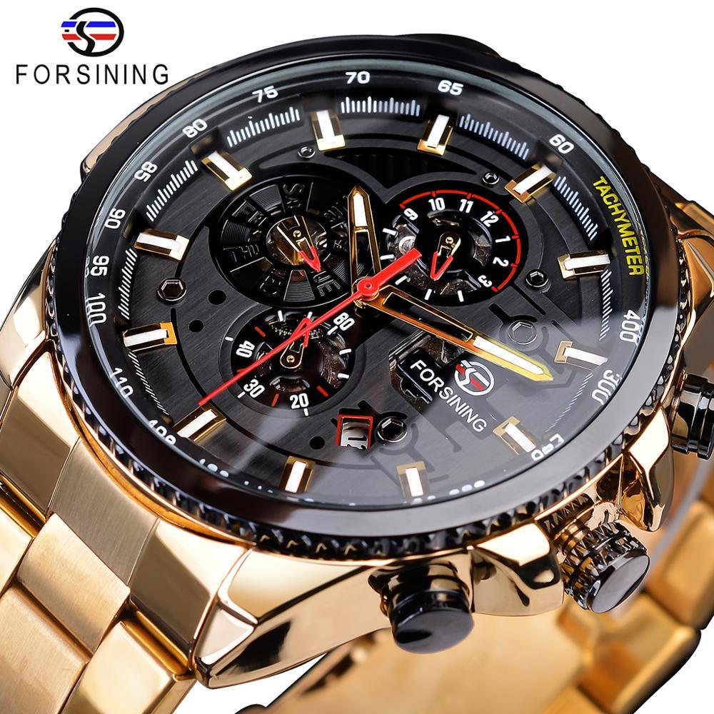 Forsining 2019 Classic Black Golden Clock Male Steampunk Sport Series Complete Calendar Men's Automatic Watches Top Brand Luxury