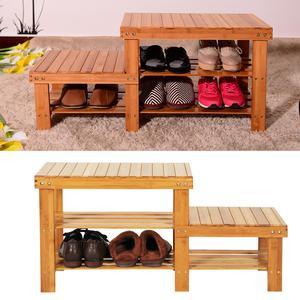 2 Tier Bamboo Shoe Racks Stool Bench Storage Seat Organizer Shelf Footstool Entryway Hallway Home Solid Wood Shoe Cabinet
