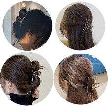 Leopard Metal Hollow Out Geometric Hair Claw Ladies Elegant Hair Accessories Cross Shark Crab Bath C