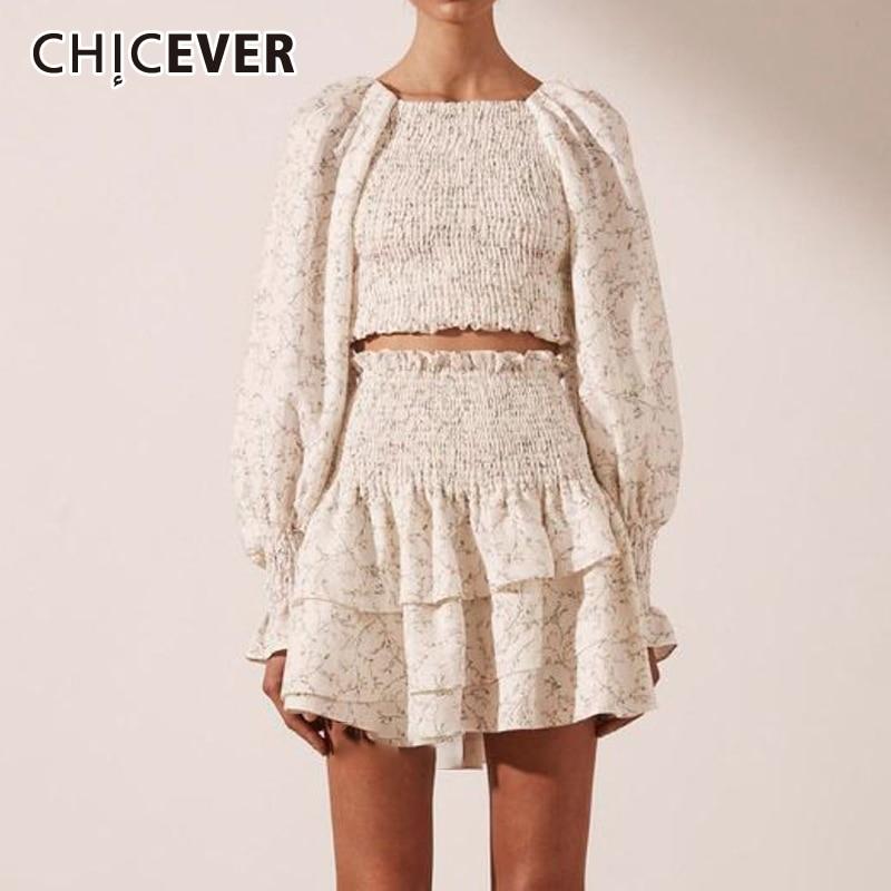 CHICEVER طباعة البلوز فستان للنساء ساحة طوق نفخة قصيرة الأكمام بلايز عالية الخصر Ruched التنانير الصغيرة ضئيلة مجموعات الإناث 2021