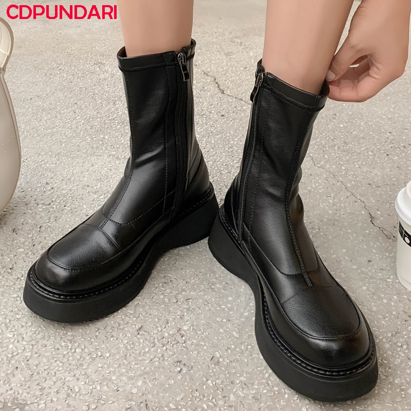 Ladies Black Genuine Leather Flat Platform Ankle Boots For Women Autumn Winter Short Chunky Boots Shoes Bottes Plateforme Femme