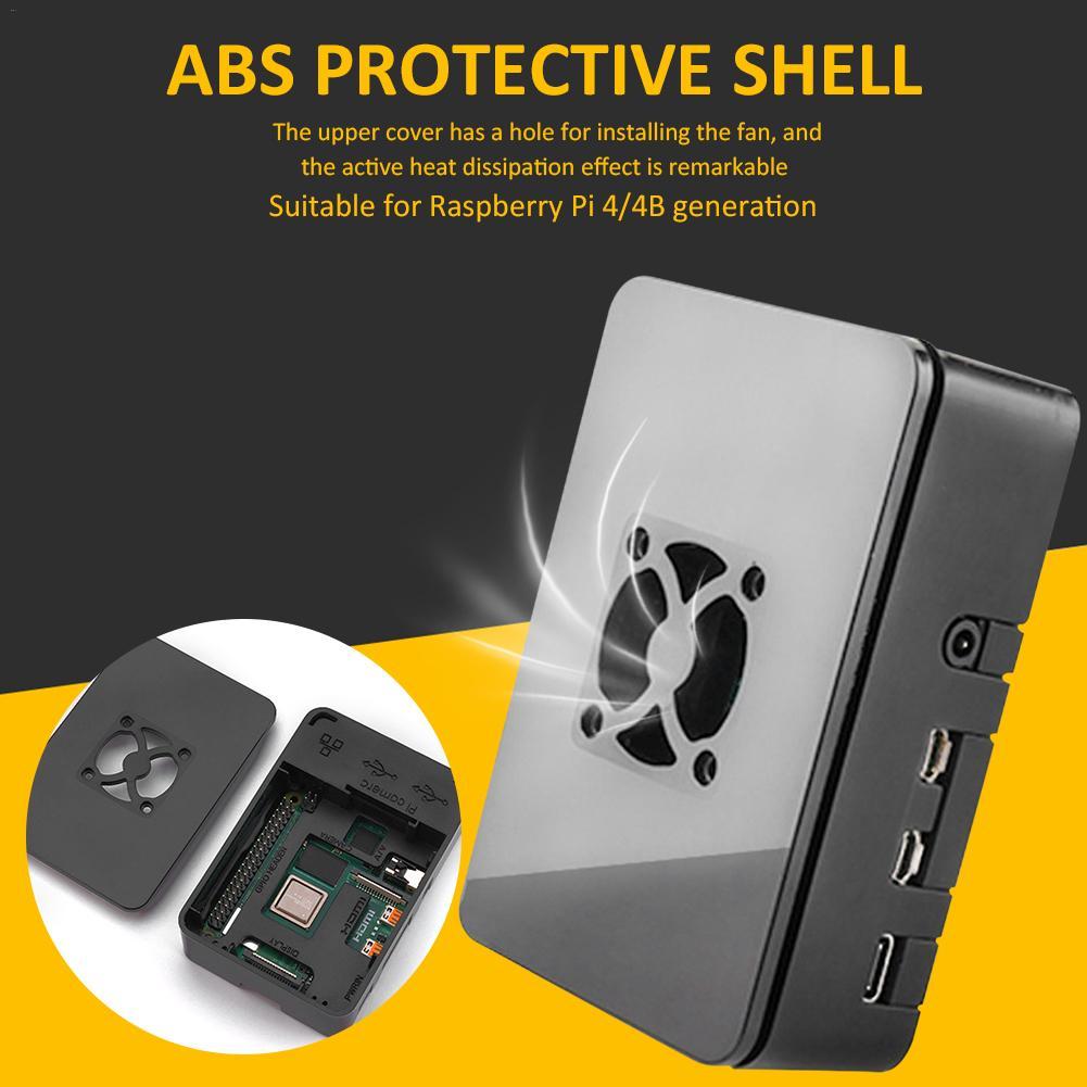 Caixa de refrigeração abs preto, dissipador de calor concha dura com bom ventilador de dissipação de calor para raspberry pi 4 modelo b 1 gb 2 gb 4 gb