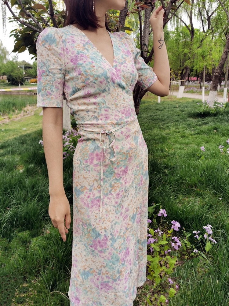 Mujeres Wrap v-cuello Midi Vestido de manga corta de impresión Floral Vestido largo de dama para verano vestidos con cinturón nuevo