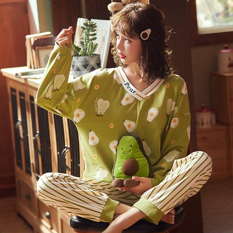 بيجامة نسائية من القطن بأكمام طويلة ، ملابس منزلية جميلة للربيع والخريف
