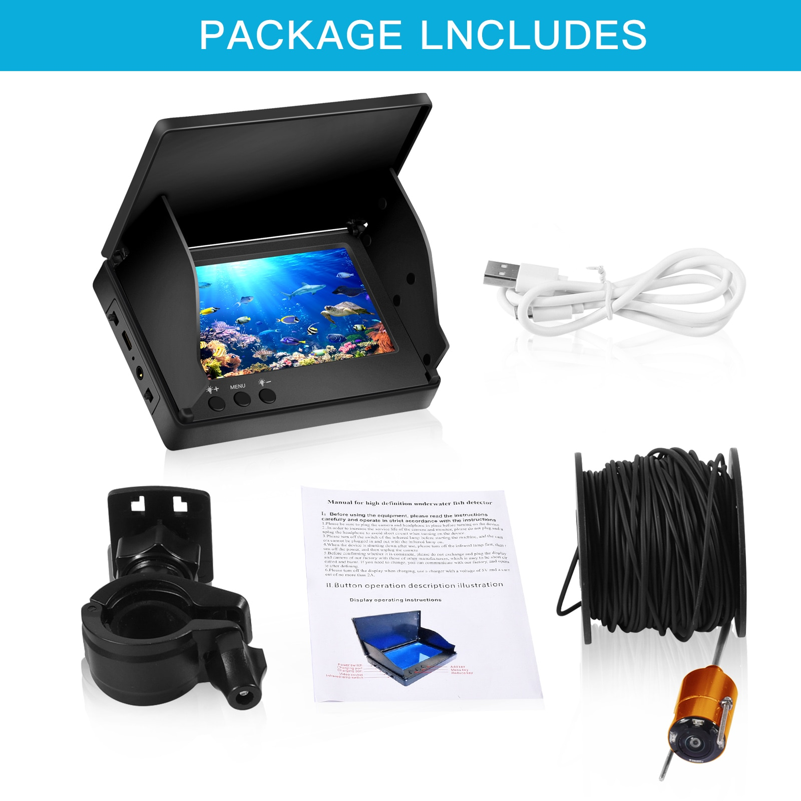 4.3 Inch Underwater Video Fish Finder Fishing Camera Wide-Angle Infrared Night Vision HD Waterproof 30M 1000TVL enlarge