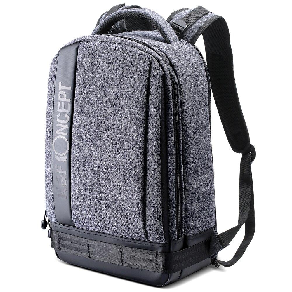 Mochila para cámara K & F CONCEPT, bolsa de viaje Universal impermeable, con relleno, correas de trípode de alta capacidad para lentes Canon Nikon Sony