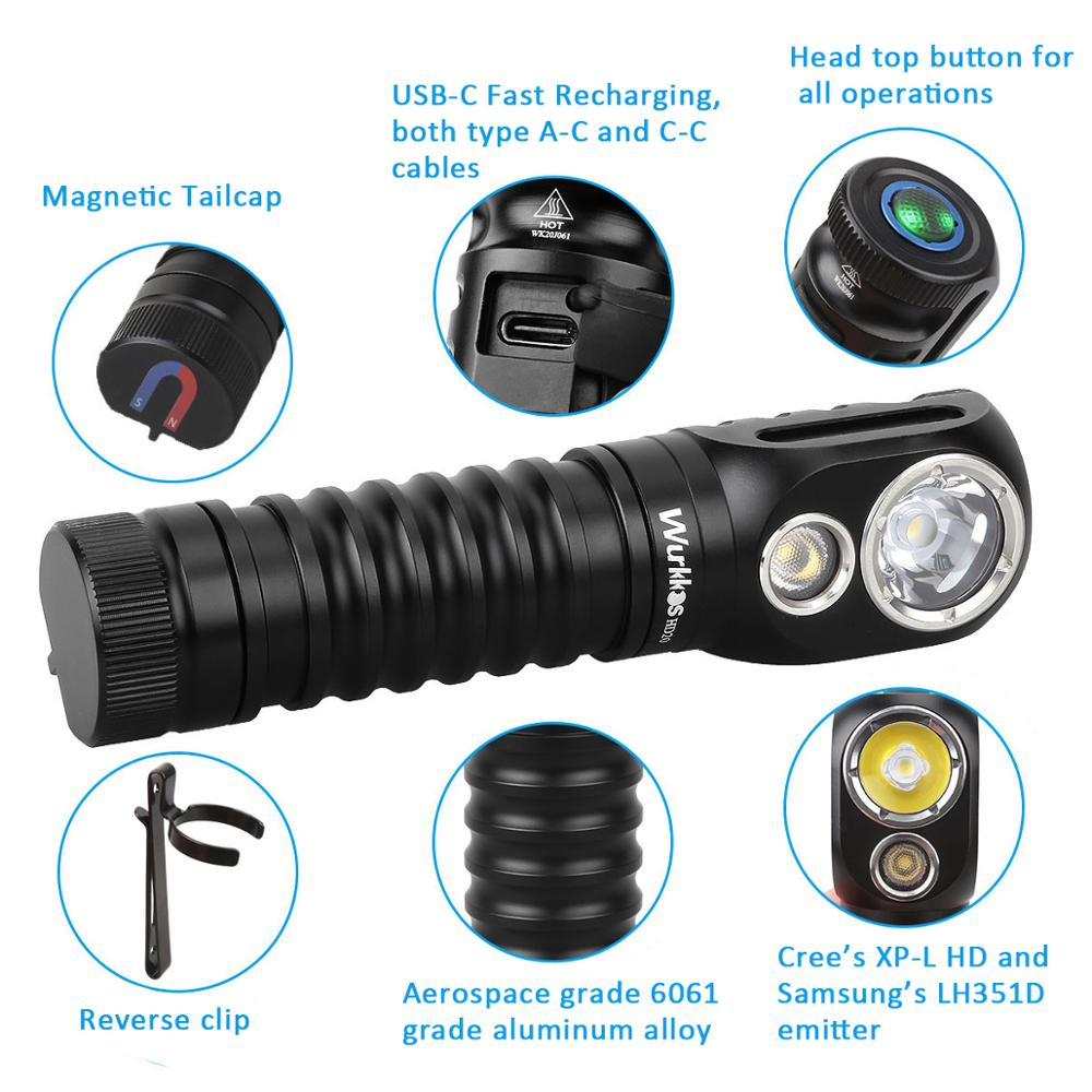 Wurkkos HD20 USB C Rechargeable Headlamp 21700 LED light 2000lm Dual LED LH351D XPL with Reverse Charge Magnetic Tail enlarge