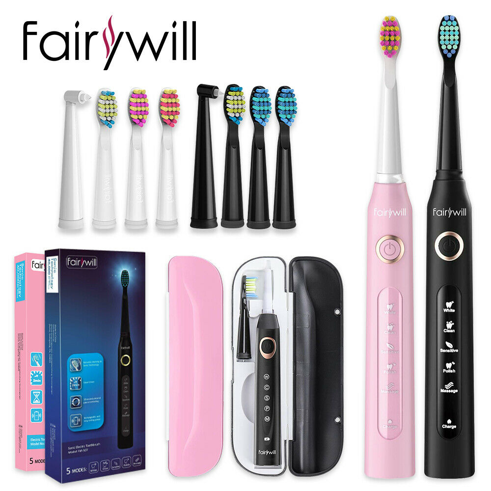 Fairywill Sonic Electric Toothbrush FW507 for Adults 5 Modes Smart Timer Rechargeable Toothbrush with 10 Replacement Brush Heads 10 modes automatic sonic electric toothbrush rechargeable usb charger ultrasonic teeth brush for adults 5 10 replacement heads