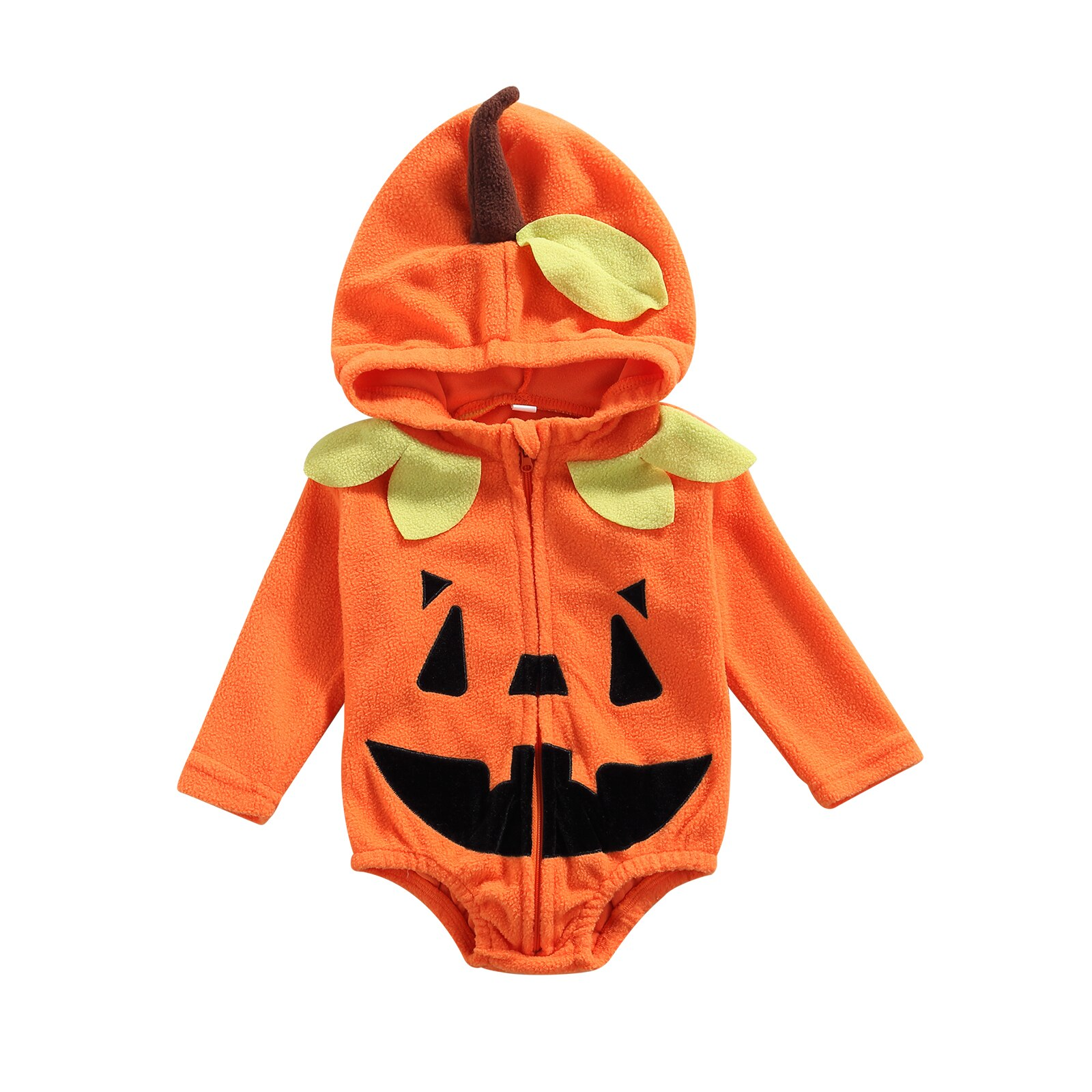 Baby Clothes Halloween Zip-up Romper Baby Boy Girl Bodysuit Orange Pumpkin Shaped Long Sleeve Hooded Clothing 0-24M