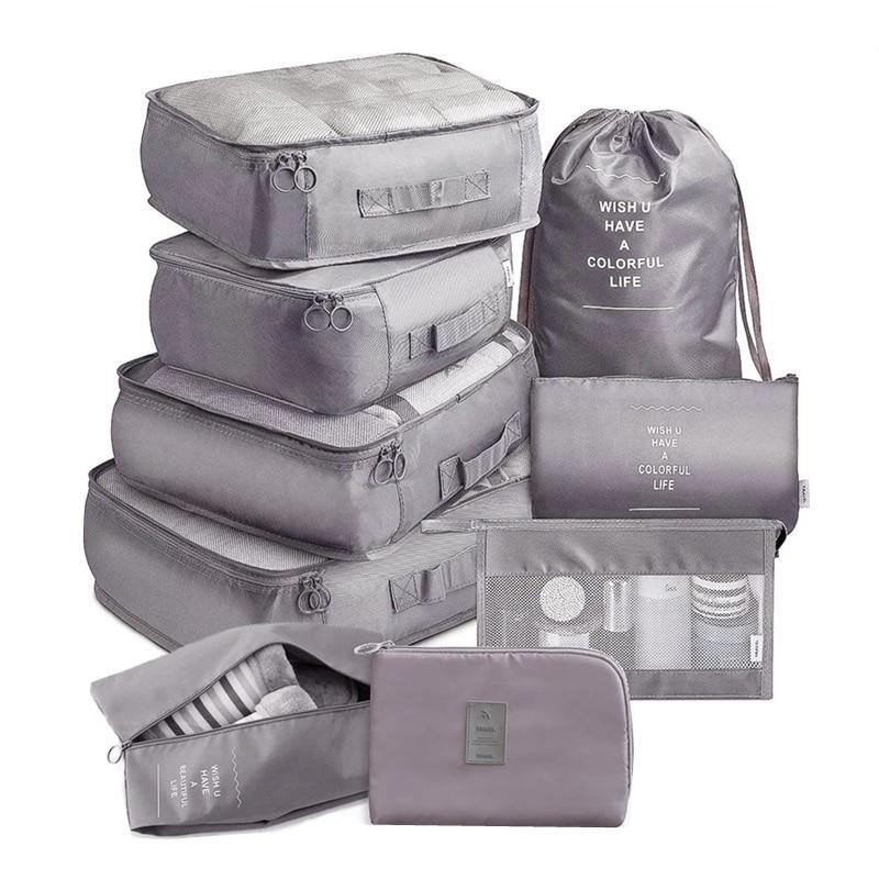 9 pieces Set Travel Organizer Storage Bags Suitcase Packing Set Storage Cases Portable Luggage Organ