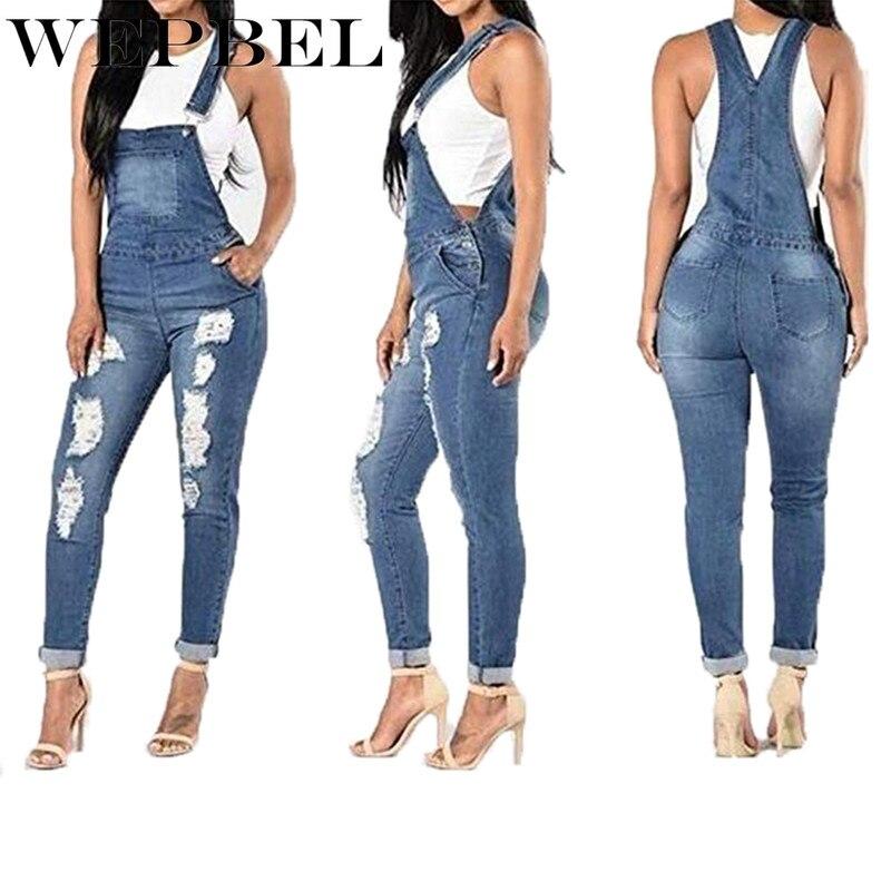 Wepbel denim lavagem geral moda feminina calças compridas macacão das mulheres playsuit sexy calças de brim macacão