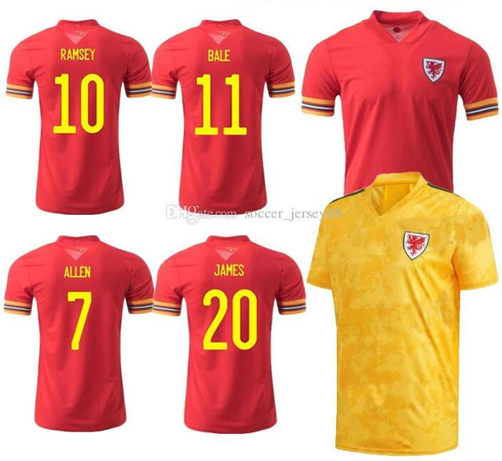 2020 2021 wales shirt National Team Cymru HOME away BALE JAMES Men maillot de shirts Camiseta de