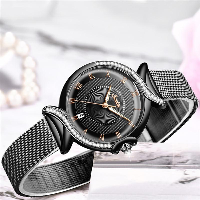 SUNKTA 2020 Watch Women NEW Luxury Brand Fashion Stainless Steel Ladies Wrist Watches Black Wristwatches For Women Montre Femme enlarge