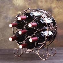 Metal de hierro 7 botellas de vino tinto estante sostenedor de botella de vino titular Rack Barware beber almacenamiento ZSP1229926