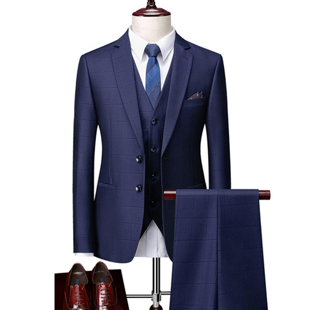 دعوى معطف السراويل سترة 3 قطعة مجموعة/لطيف رواج البوب الرجال بوتيك الأعمال التجارية البريطانية نمط منقوشة دعوى بنطلون صدرية