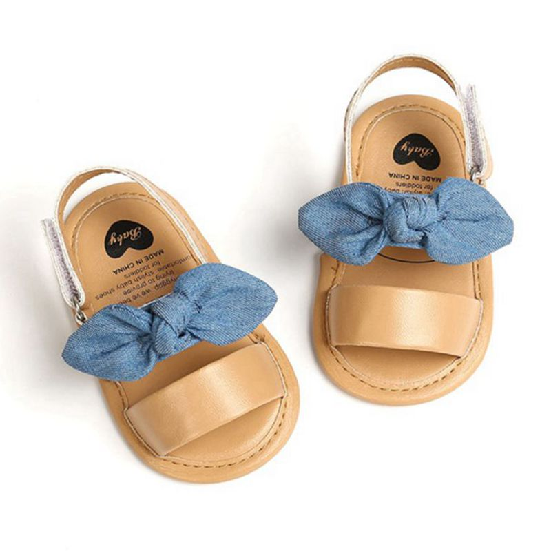 Fashion Newborn Infant Baby Girls Princess Shoes Bowknot Toddler Summer Sandals PU Non-slip Shoes 0-
