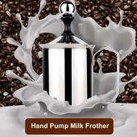 hand pump milk frother with handle and filter stainless steel milk foamer 17 oz 45p