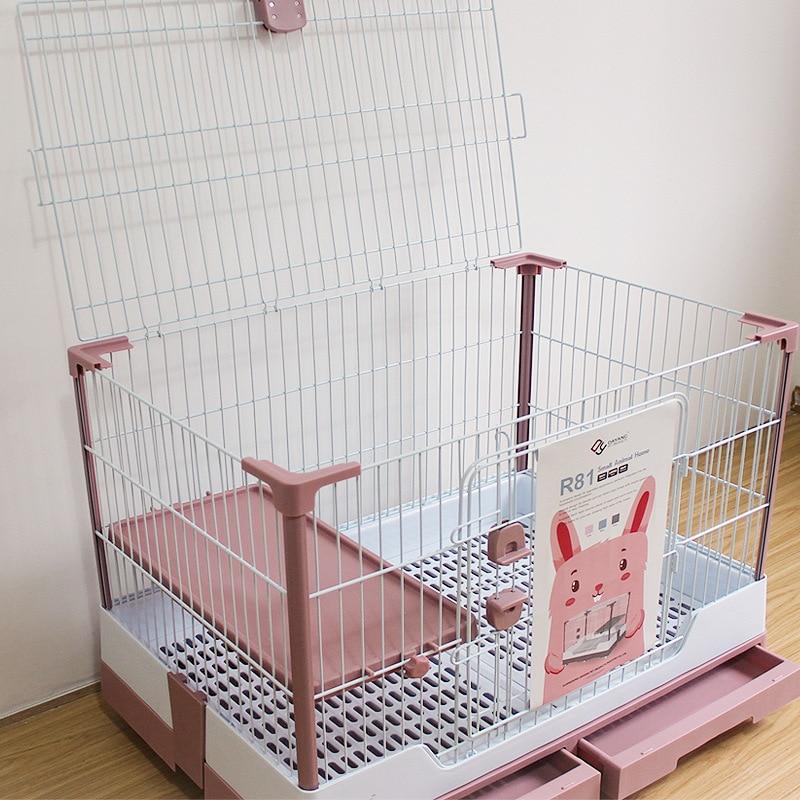 Конструкция с двумя выдвижными ящиками, клетка для кролика, воздухопроницаемая пластиковая Нижняя сетка для домашних животных, кролик, роскошная вилла, вверх, полностью Открытое окно, противомочевой спрей