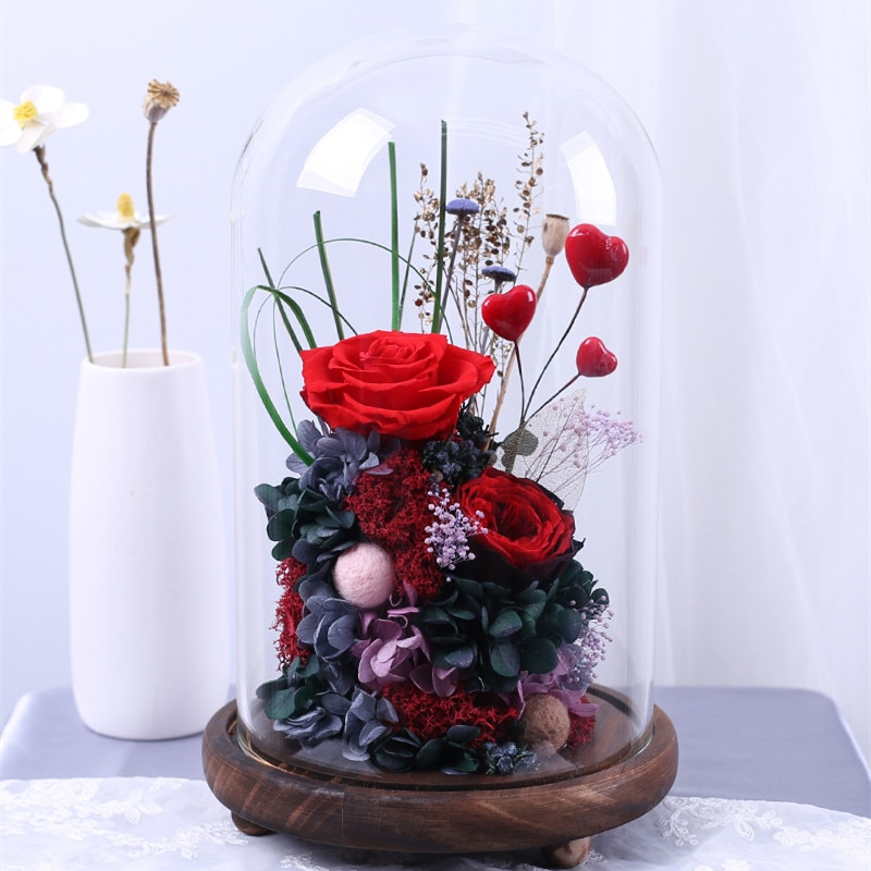 Cúpula de cristal con Base de madera antigua de 9x18cm con 3 patas diámetro de decoración del hogar = 9cm altura = 18cm cúpula de cristal regalo para Amiga decoración de boda