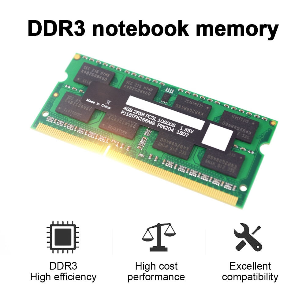DDR3 4GB 1600MHz محول ذاكرة للكمبيوتر المحمول 1.35V ذاكرة الوصول العشوائي عالية السرعة 204PIN قطاع الذاكرة للكمبيوتر المحمول