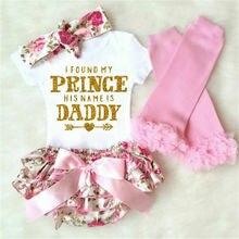 Neugeborenen Baby Mädchen Mein Prinz Ist Papa Romper Floral Shorts Kleid Outfits Set