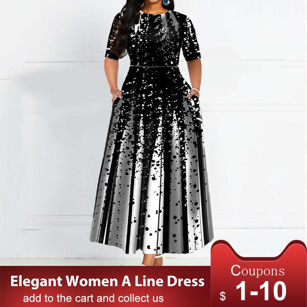 Mujeres 2019 elegante Lady Party Dinner Midi Robe alta cintura vendaje estampado africano vestido de Navidad vestidos media manga vestido