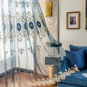 Stitching Blue Lace Bottom Window Drapes for Bedroom Luxury Geometric Hollow Out Embroidery Curtains for Living Room 456Z