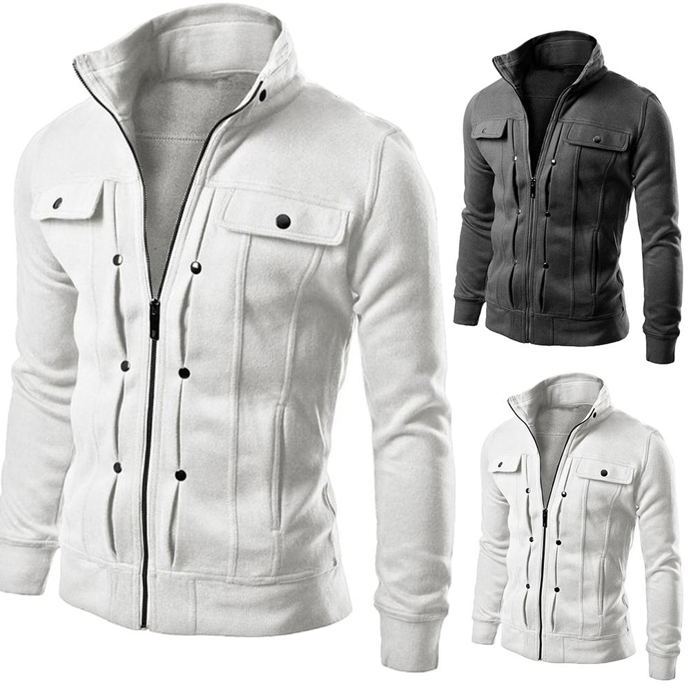 Jaqueta masculina casual jaqueta de beisebol com zíper jaquetas outono inverno casaco de lã bombardeiro casaco de gola gola moda masculina outwear coa