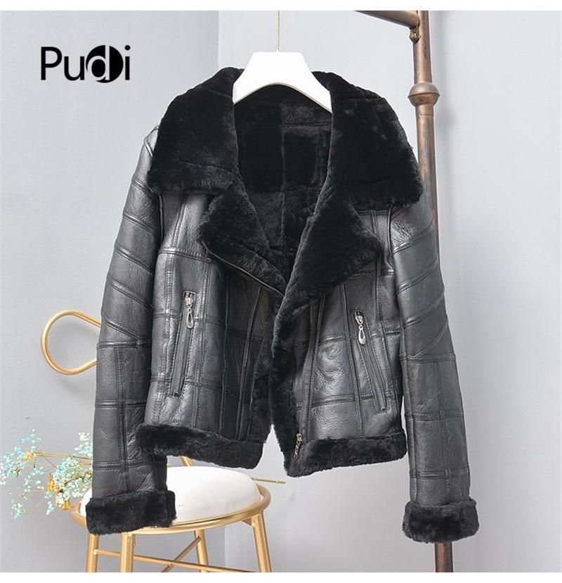 معطف نسائي من فرو الغنم الحقيقي للشتاء جاكيت للدراجة النارية معطف نسائي للترفيه معاطف من جلد الغنم الحقيقي ملابس خارجية TX307704