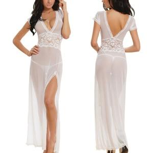 women  Sexy long dressing night gown sheer transparent dress evening nightgown nightie sleepwear lingerie