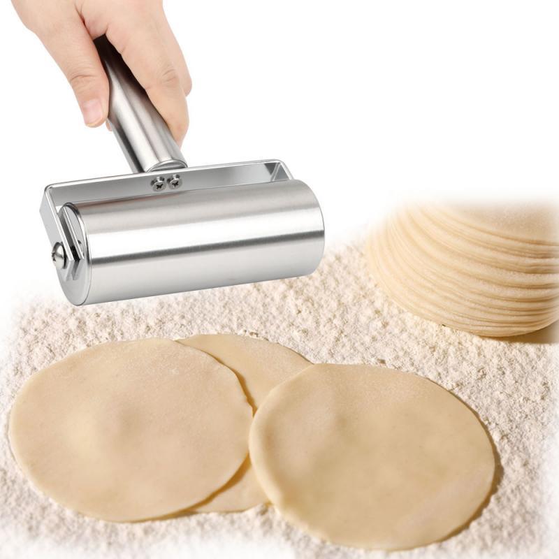 Rodillo de acero inoxidable para pasta de fideos, pasta antiadherente, masa para Pizza, Fudge Baker, herramienta de cocina de Metal para hornear, masa, Pizza, galleta