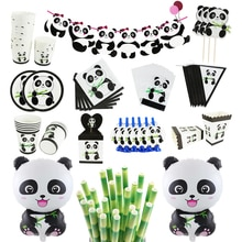 Panda Birthday Foil Balloons Birthday Party Decoration Kids Paper Box Bags Cup Animal Inflatable Bal