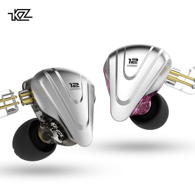 سماعات رأس معدنية KZ ZSX المنهي 5BA + 1DD هجينة 12 وحدة HIFI Bass مراقب لإلغاء الضوضاء في سماعات الأذن