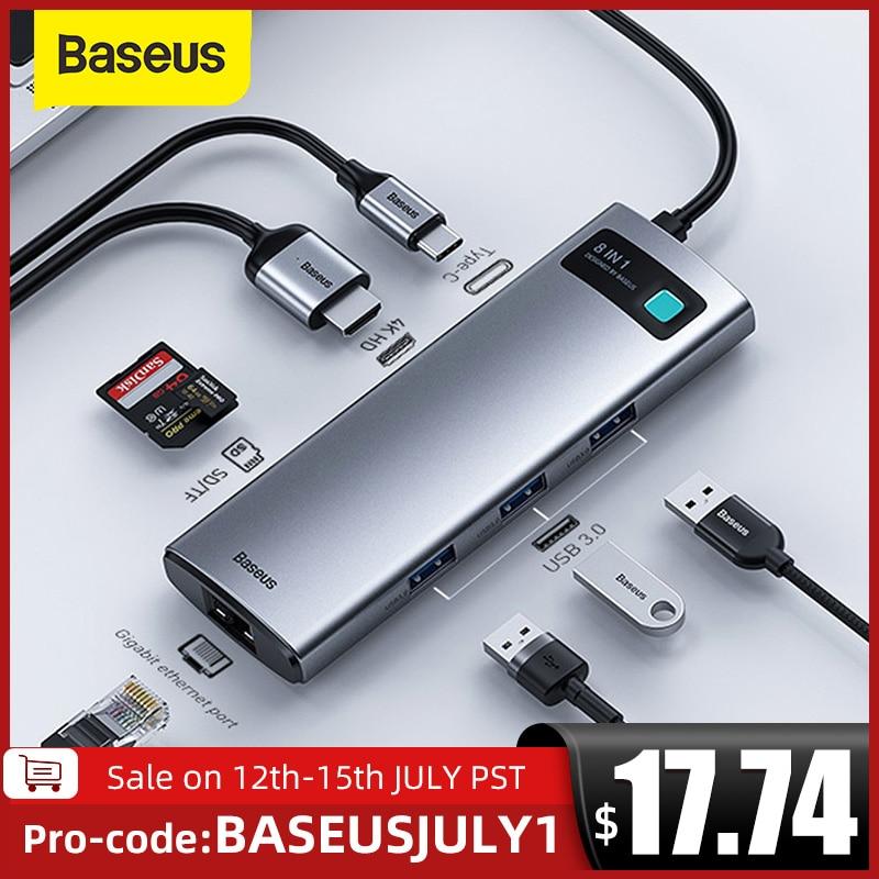 Baseus USB C محور نوع C إلى HDMI-متوافق USB 3.0 محول 8 في 1 نوع C محور حوض ل ماك بوك برو الهواء USB C الفاصل