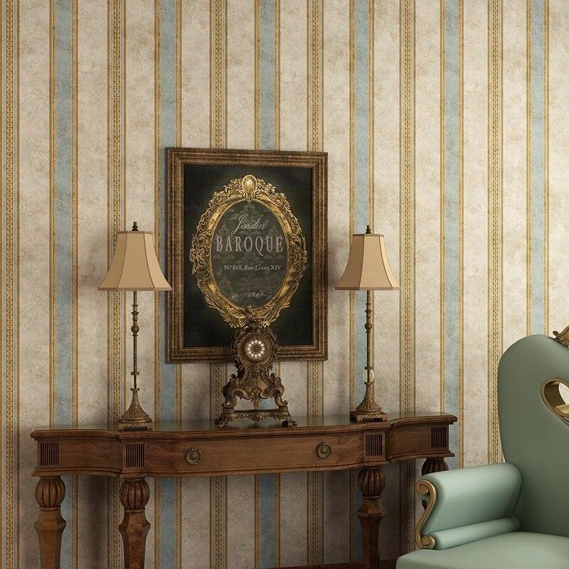 Papel tapiz no tejido a rayas verticales Retro de país americano para dormitorio, sala de estar, TV, rollos de papel de pared, decoración del hogar