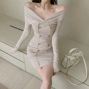 Evening Party Sexy V-Neck Bodycon Dress Women 2021 Long Sleeve Korean Clothing Vestidos Nightclub Fashion Dresses New